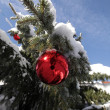 Christmas decoration snowy landscape — Stock Photo