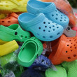 Colorful Shoes In Flea Market - Stock Photo