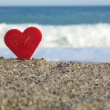 Red heart beach — Stock Photo