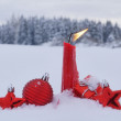 Christmas candle snow — Stock Photo