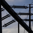 Electrical power grid in silhouette — Stock Photo