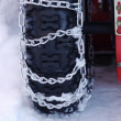 Snow chains tyre — Foto de Stock