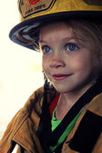 Girl as Firefighter — Stock Photo
