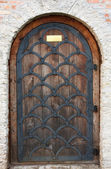 Old wooden door from medieval era. — Stock Photo