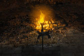 Torch on the wall of an old castle — Stock Photo