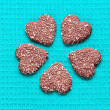 Chocolate Coconut cookies in the form of hearts — Stock Photo