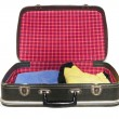 Open vintage suitcase over a white background — Stock Photo #13645969