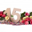 Age in figures, decorated with roses — Stock Photo #16973193