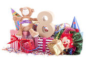 Age in figures in a party mood for a childrens birthday — Stock Photo
