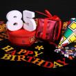 Age in figures in an happy birthday card — Stock Photo