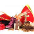 Putting shoes for Sinterklaas eve — Stockfoto