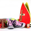 Putting shoes for Sinterklaas eve — Photo