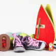 Putting shoes for Sinterklaas eve — Stok fotoğraf