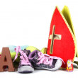 Putting shoes for Sinterklaas eve — Stock Photo #34089169
