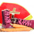 Putting shoes for Sinterklaas eve — ストック写真