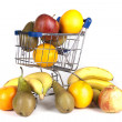 Fruits in a small shopping cart — Stok fotoğraf #35351655