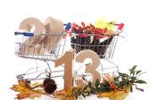 Shoppingcart in autumn — Стоковое фото