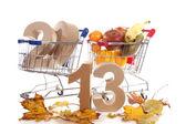 Shoppingcart in autumn — 图库照片