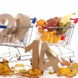 Shoppingcart in autumn — Stock Photo