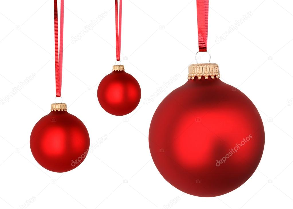 Red Christmas balls isolated on white background — Stock Photo #14137243