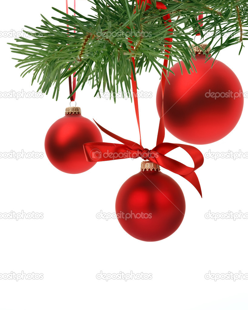 Christmas tree branch with ornaments — Foto Stock #15405453