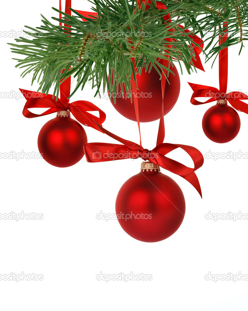 Christmas tree branch with ornaments — Stock Photo #15405463