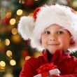 Boy with Christmas gift — Foto Stock