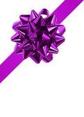 Purple ribbon and bow — Stock Photo