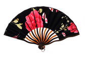 Black chinnese fan with roses — Stock Photo