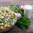 Stock Photo: Okroshkbase on wooden table