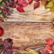 Autumn leaves and apples on old wood — Stock Photo