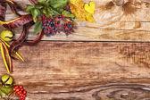 Feuilles d'automne sur le vieux bois — Photo
