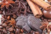 Chicchi di anice, cannella, cioccolato e caffè — Foto Stock