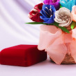 Stock Photo: Flowers and velvet box