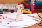 Handicraft snowman figurine — Stock Photo