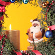 Stockfoto: Christmas advent wreath with burning candles
