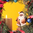 Stock Photo: Christmas advent wreath with burning candles