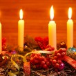 Advent wreath with four candles — Stock Photo