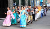 Devotees from Hare Krishna in Almaty — Stock Photo