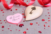 Valentine's day card with wooden heart — 图库照片