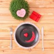 Valentine day menu on wood table — Stockfoto #39471919