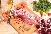 Fresh Raw Pork Chop and vegetables — Stockfoto