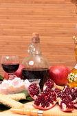 Hookah, wine and sweets — Stockfoto