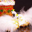 Easter eggs decorated like white swans — Stock Photo