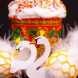 Two easter eggs decorated like white swans — Stock Photo