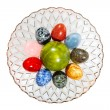 Stock Photo: Various colorful stone eggs in vase