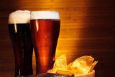 Dark and light beer — Stock Photo