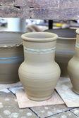 Raw clay pots at the fair — Stock Photo