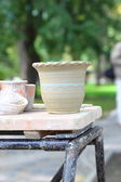 Raw clay pots at the fair — Stock Photo
