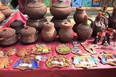 Rustic handmade ceramic clay brown terracotta jars — Stock Photo